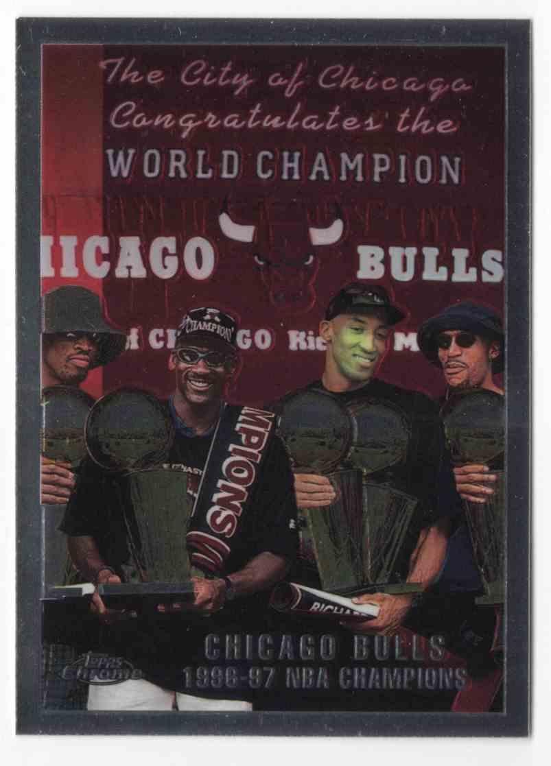 1997-98 Topps Chrome Team Of The 90s / Michael Jordan / Scottie Pippen / Dennis Rodman / Ron Harper CL #51 card front image