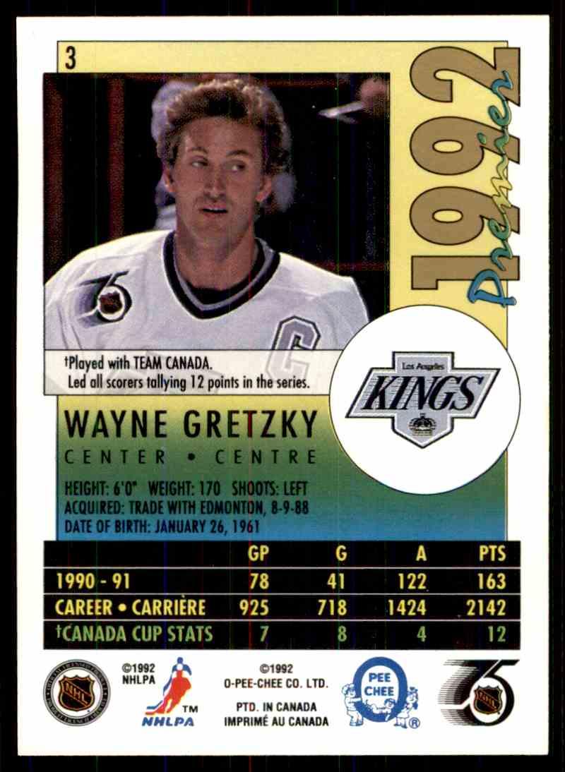 1991-92 O-Pee-Chee Premier Wayne Gretzky #3 card back image