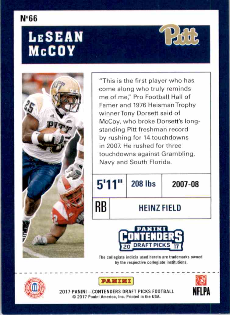 2017 Panini Contenders Draft Picks LeSean McCoy #66 card back image