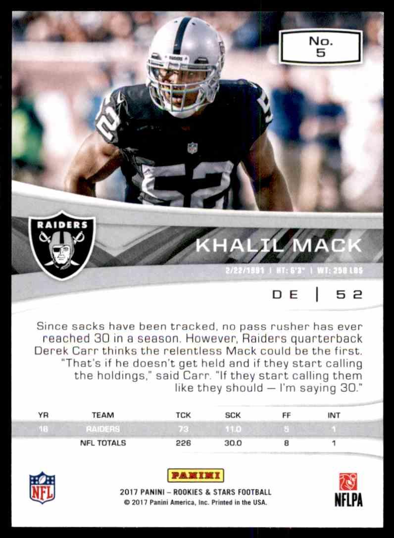 2017 Rookies And Stars Khalil Mack #5 card back image