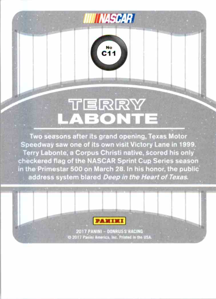 2017 Panini Donruss Racing Terry Labonte #C11 card back image