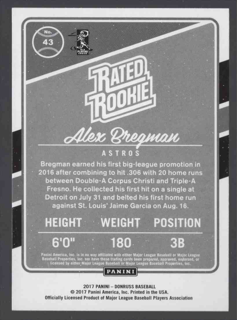 2017 Donruss Alex Bregman Rr #43 card back image