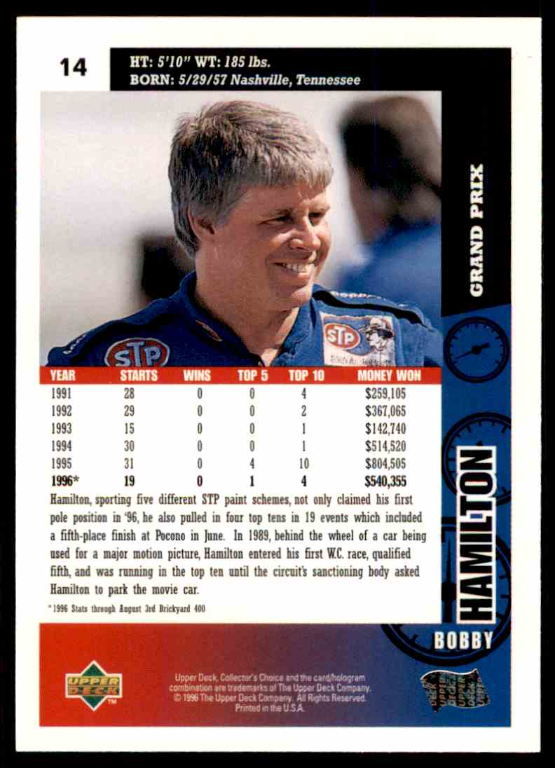 1996 Upper Deck Bobby Hamilton #14 card back image