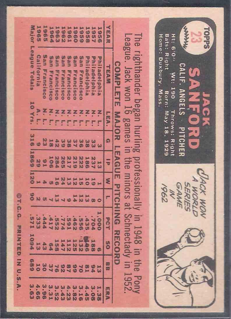1966 Topps Jack Sanford Nm #23 card back image