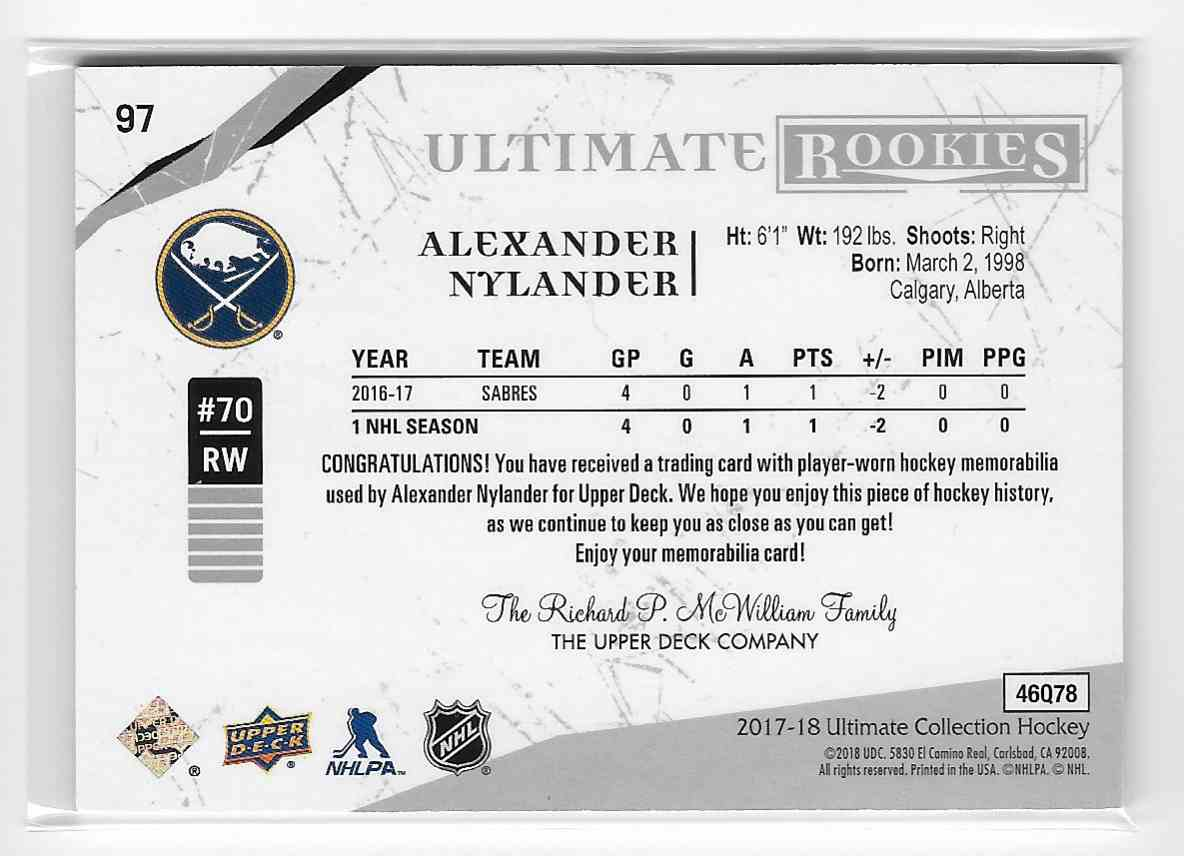 2017-18 Upper Deck Ultimate Alexander Nylander #97 card back image