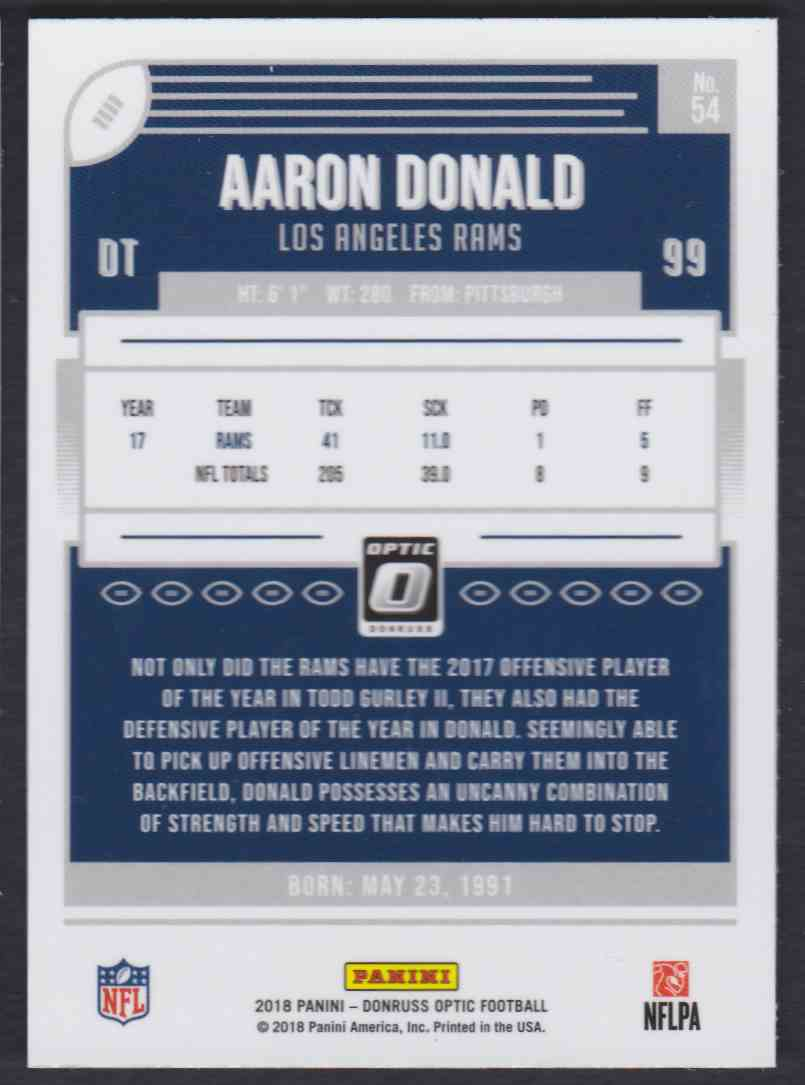 2018 Donruss Optic Aaron Donald #54 card back image