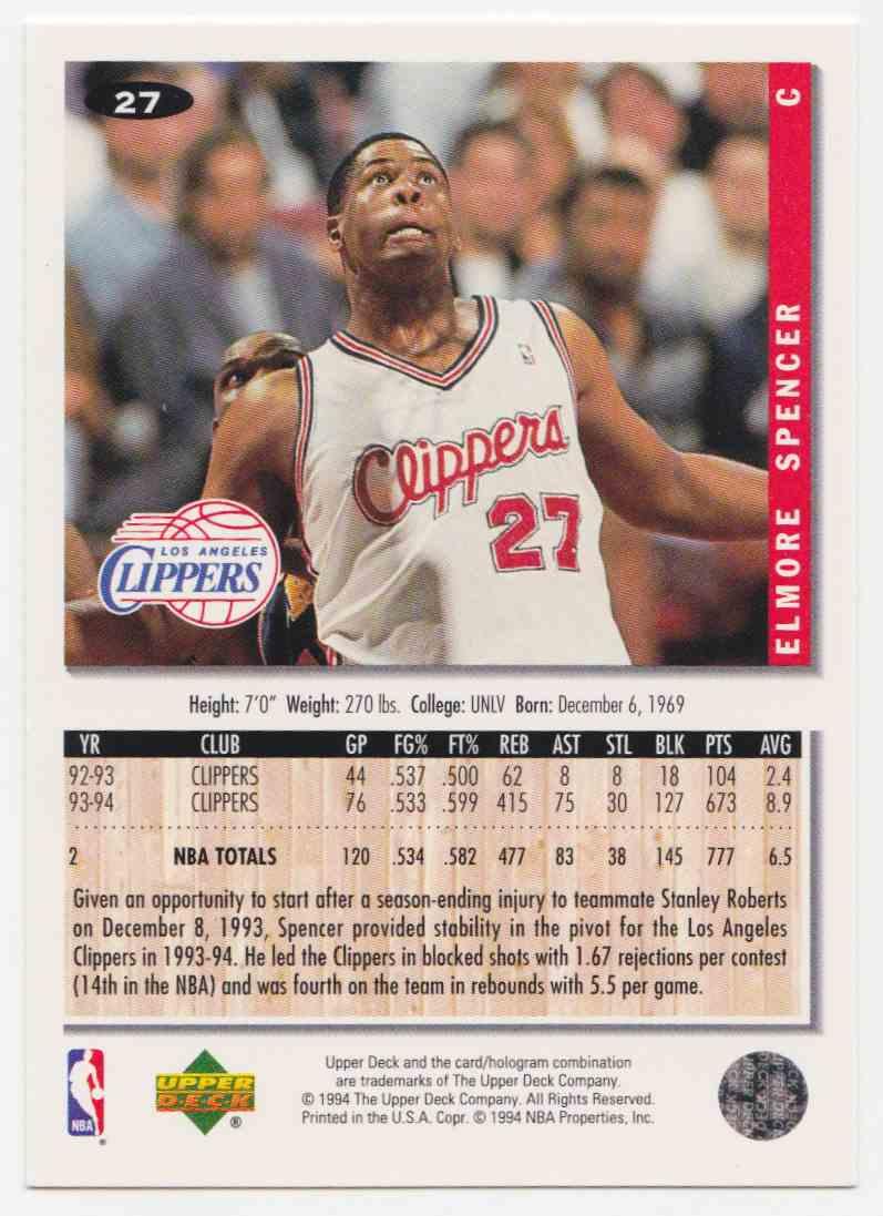 1994-95 Upper Deck Collector's Choice Base Elmore Spencer #27 card back image