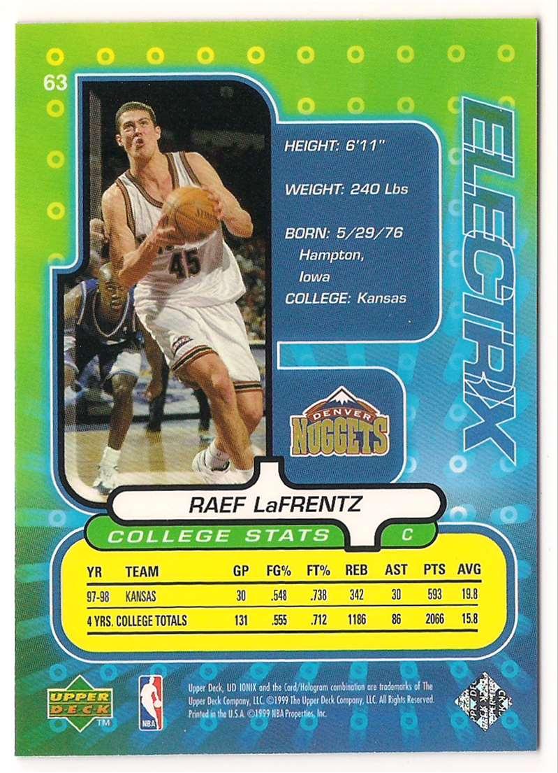 1998-99 Upper Deck Ionix Raef LaFrentz #63 card back image