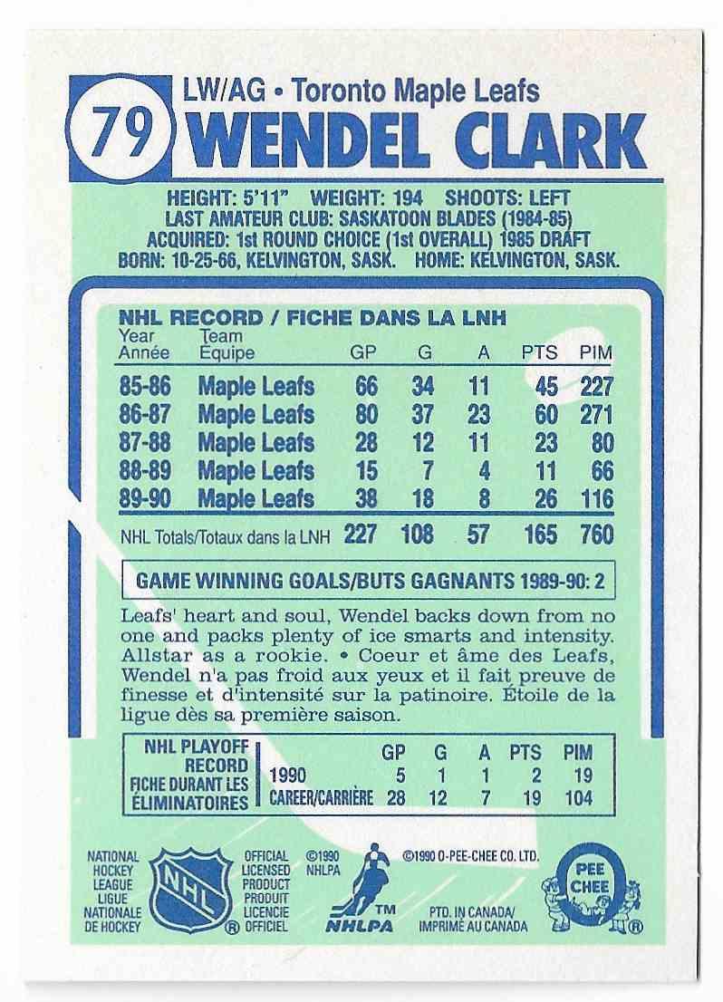 1990-91 O-Pee-Chee Wendel Clark #79 card back image