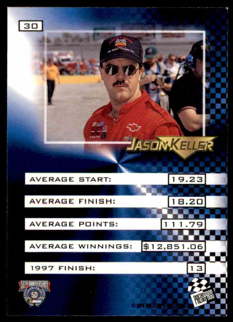 1998 Press Pass Vip Jason Keller #30 card back image