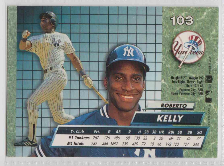 1992 Fleer Ultra Roberto Kelly #103 card back image