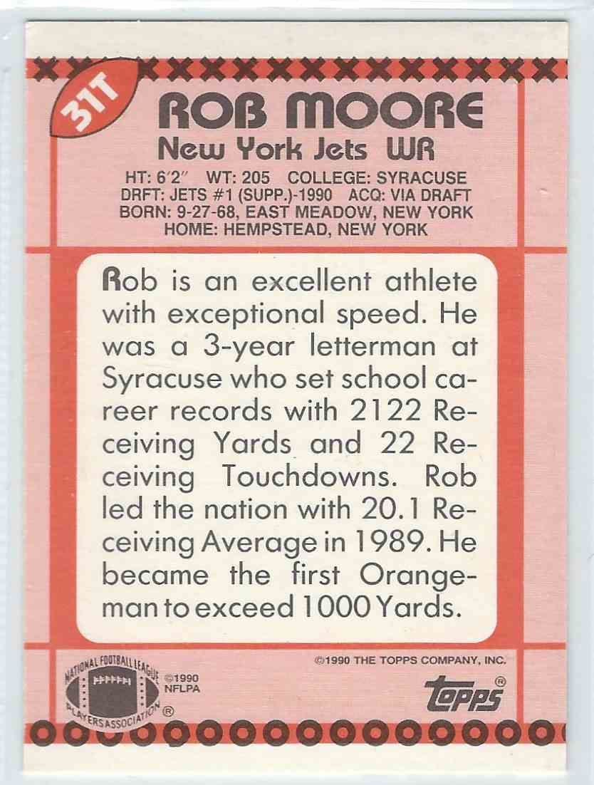 1990 Topps Traded Rob Moore #31T card back image
