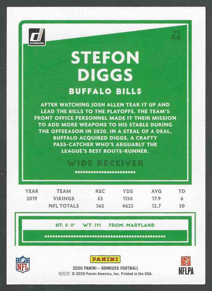 2020 Panini Base Stefon Diggs #46 card back image