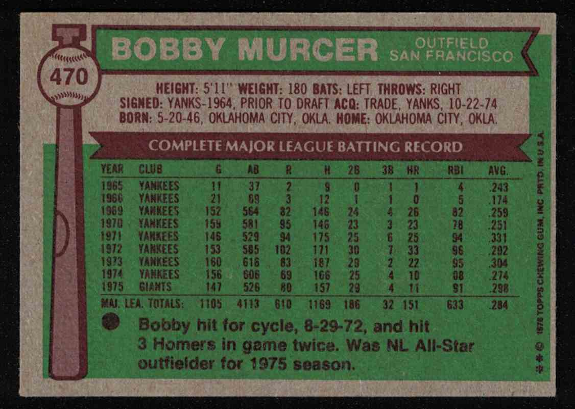 1976 Topps Bobby Murcer NM #470 card back image