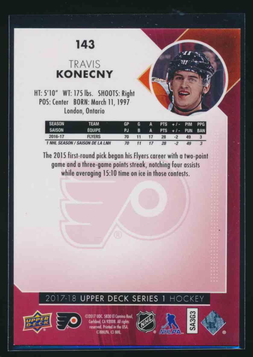 2017-18 Upper Deck Exclusive Travis Konecny #143 card back image