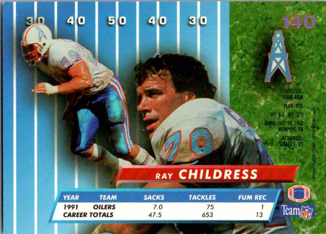 1992 Fleer Ultra Ray Childress #140 card back image