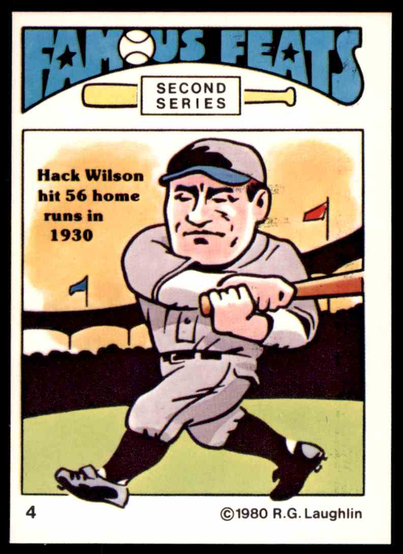 1980 Rg Laughlin Famous Feats Nm Hack Wilson 4 On