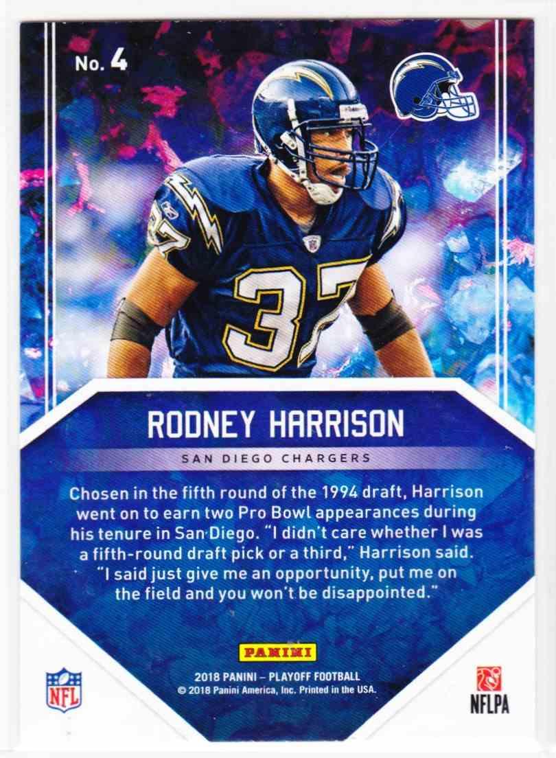 2018 Playoff Hidden Gems Rodney Harrison #4 card back image