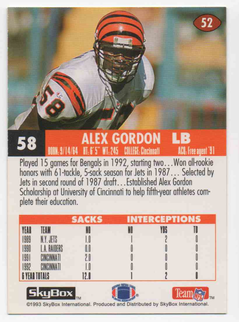 1993 Skybox Impact Alex Gordon #52 card back image