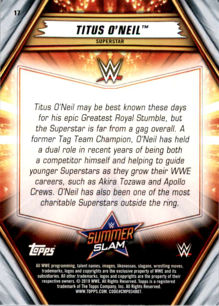 2019 Topps Wwe SummerSlam Titus O'Neil #17 card back image