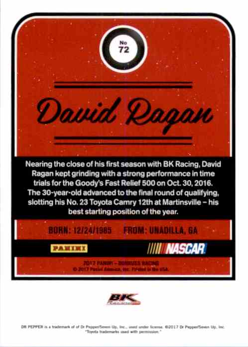 2017 Donruss David Ragan #72 card back image