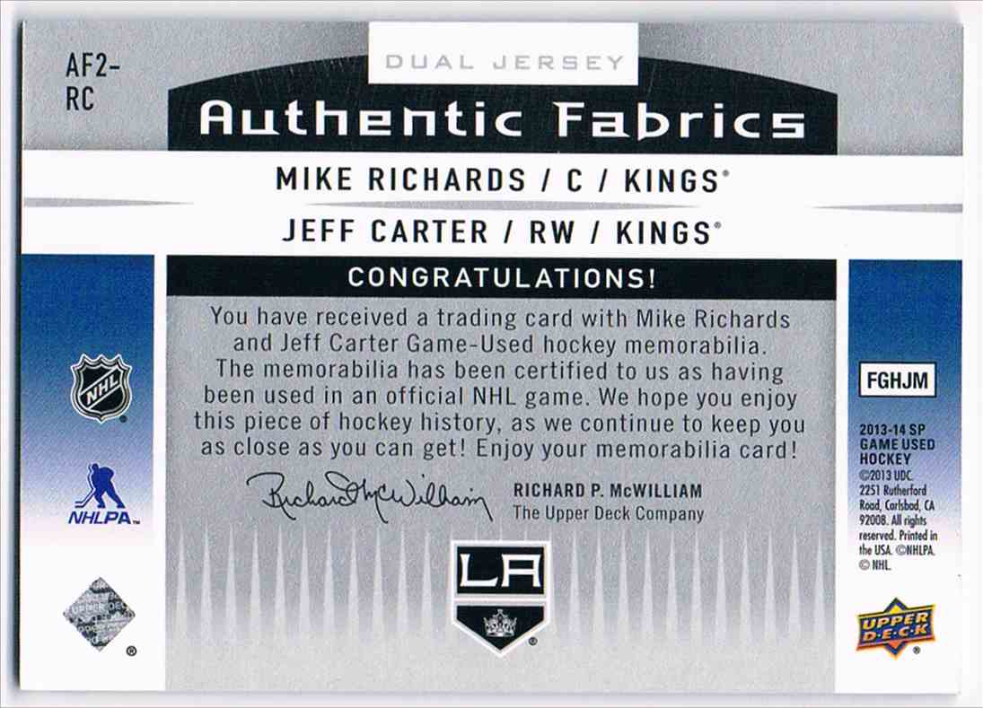 2013-14 SP Game Used Dual Authentic Fabrics Mike Richards/Jeff Carter #AF2-RC card back image