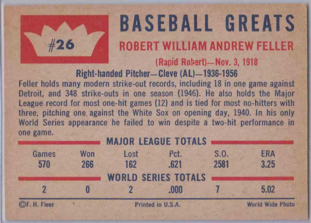 1960 Fleer Bob Feller #26 card back image