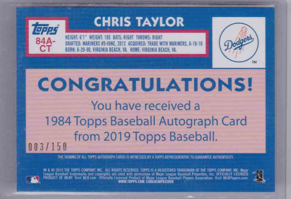 2019 Topps 1984 Topps Baseball Autograph Card 150th Anniversary Chris Taylor #84A-CT card back image
