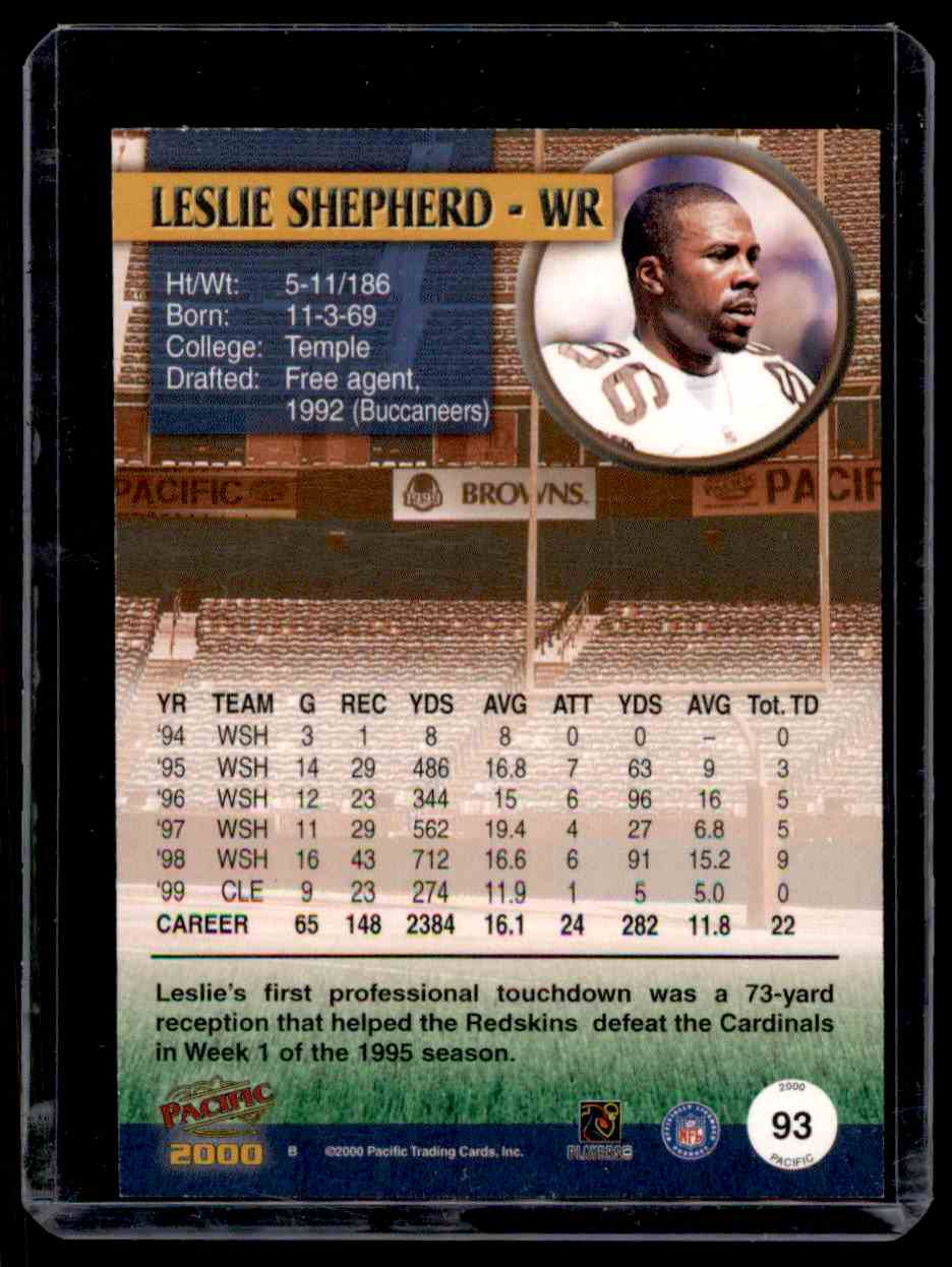 2000 Pacific Gold Leslie Shepherd #93 card back image
