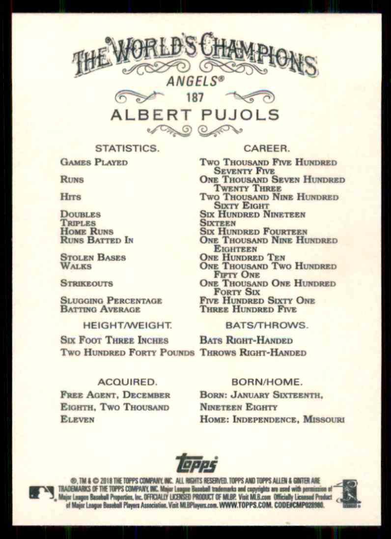 2018 Topps Allen & Ginter Albert Pujols #187 card back image