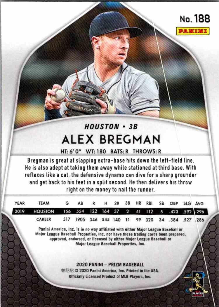 2020 Panini Prizm MLB Alex Bregman #188 card back image