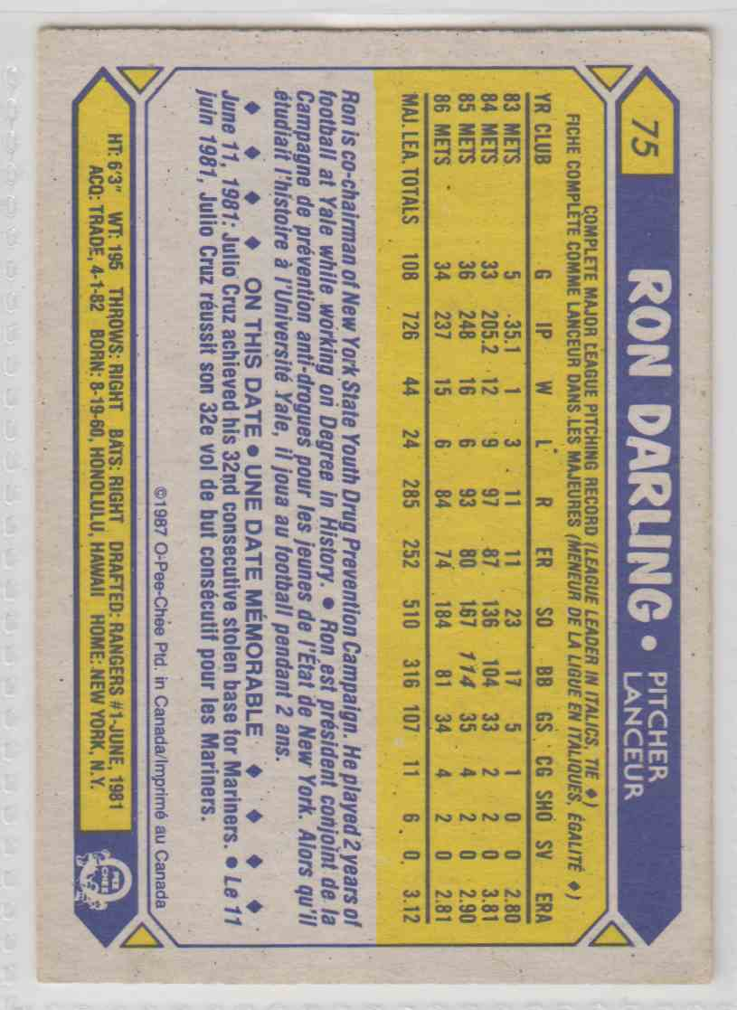 1987 O-Pee-Chee Ron Darling #75 card back image