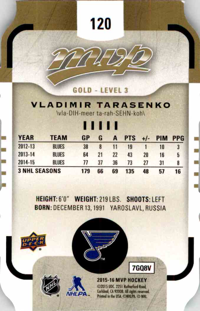 2015-16 Upper Deck MVP Colors And Contours Vladimir Tarasenko #120 card back image
