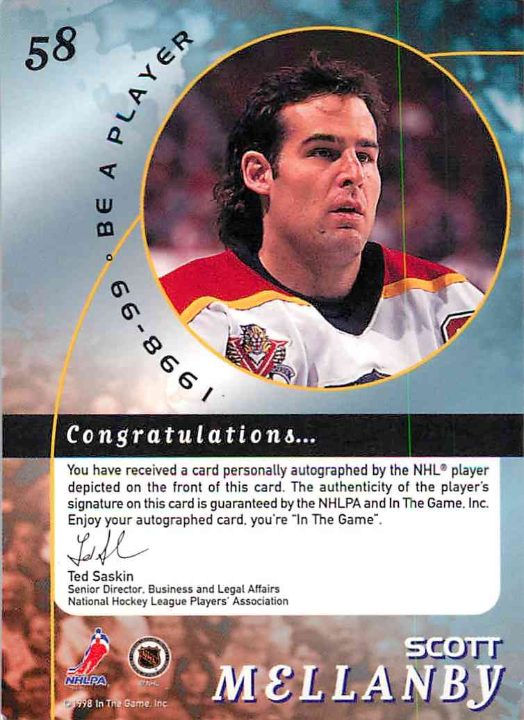 1998-99 In The Game Be A Player Scott Mellanby #58 card back image