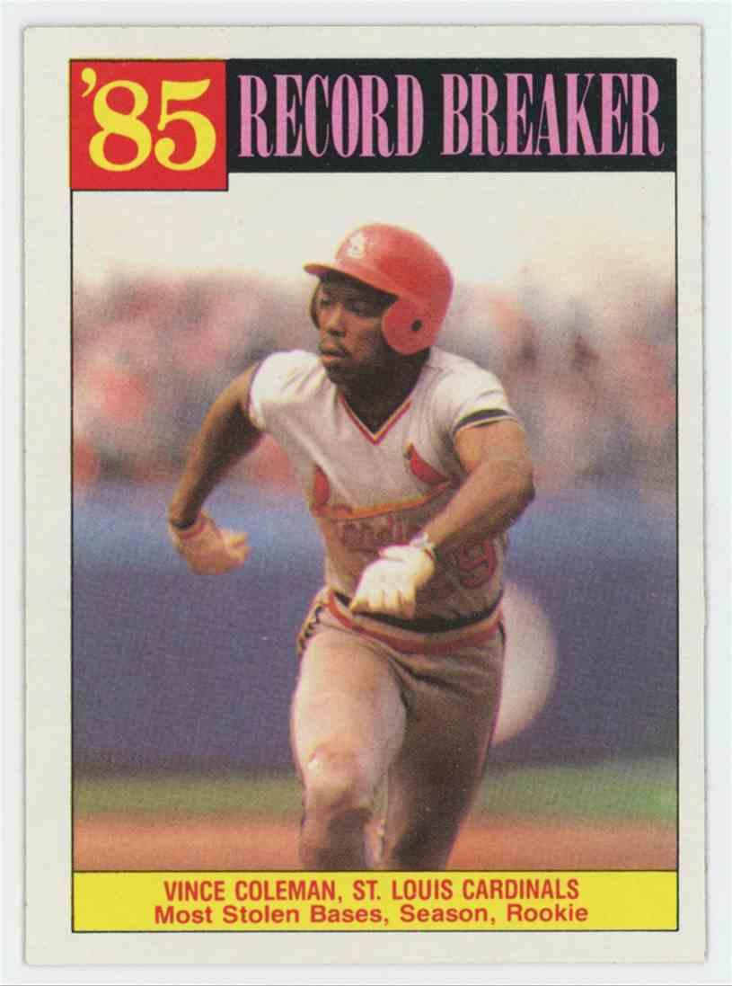 1986 Topps Vince Coleman 3985 Record Breaker 201 On Kronozio