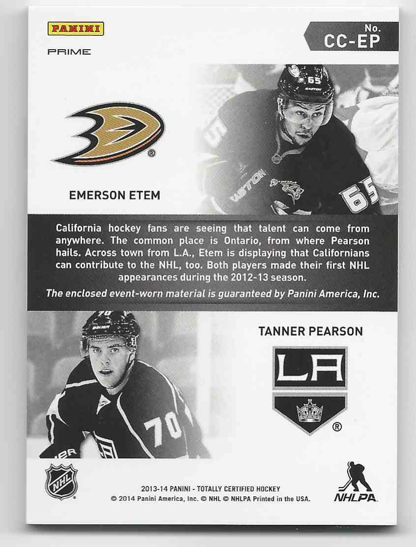 2013-14 Totally Certified Certified Competitors Jerseys Prime Blue Emerson Etem, Tanner Pearson #CC-EP card back image