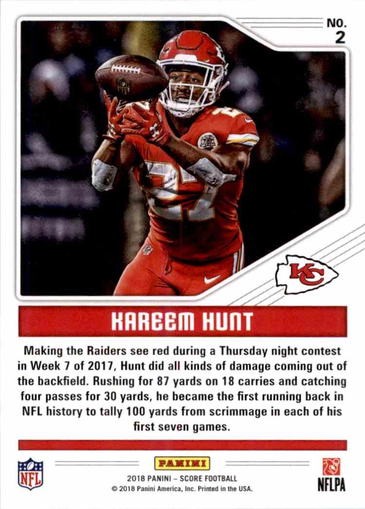 2018 Panini Score Color Rush Kareem Hunt #2 card back image