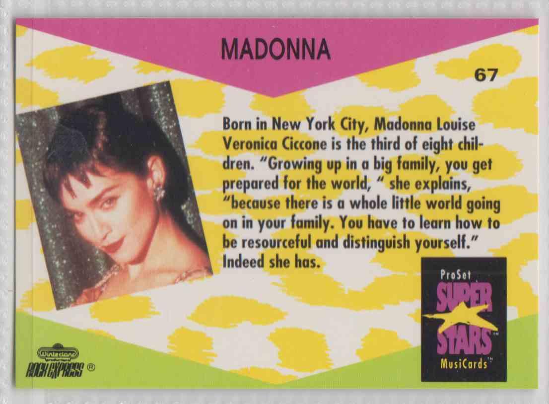 1991 Pro Set SuperStars MusiCards Madonna #67 card back image