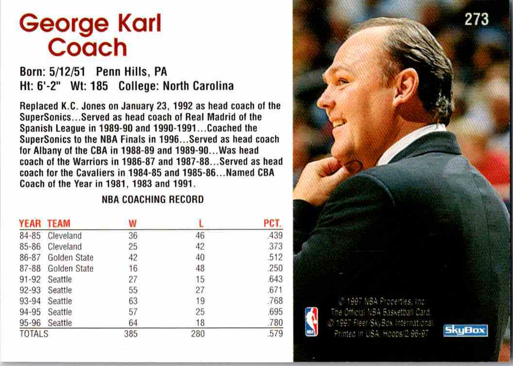 1997-98 NBA Hoops George Karl #273 card back image