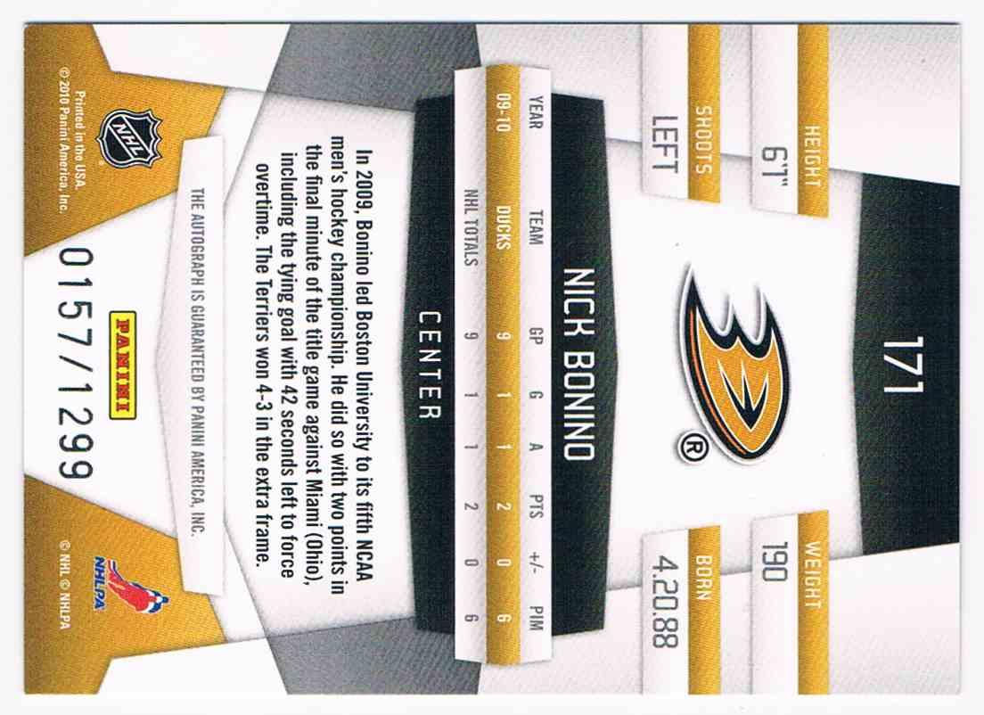 2010-11 Certified Freshman Signatures Nick Bonino #171 card back image
