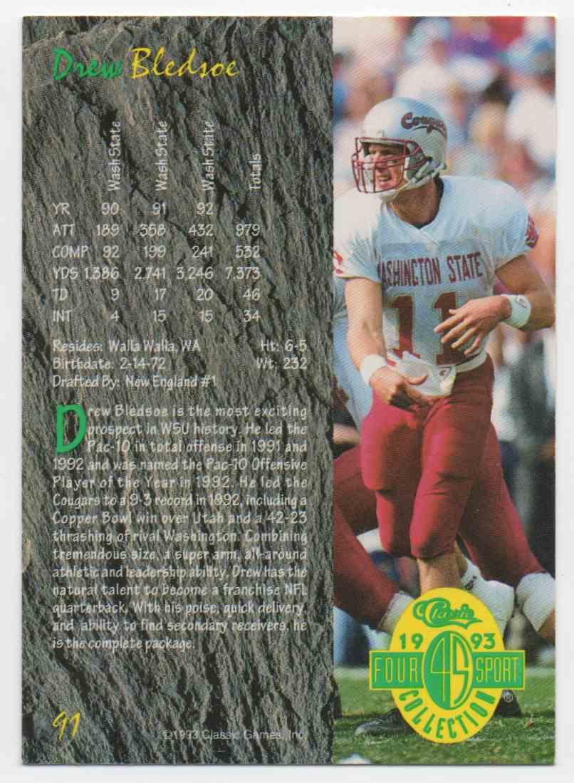 1993 Classic Four Sport Drew Bledsoe #91 card back image