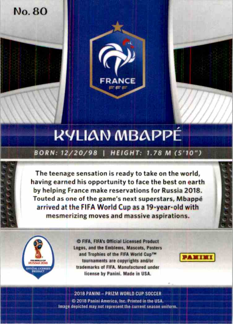 2018 Panini Prizm World Cup Kylian Mbappe #80 card back image
