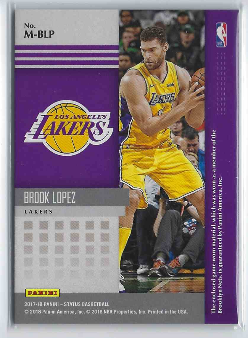 2017-18 Anini Status Materials Brook Lopez #M-BLP card back image