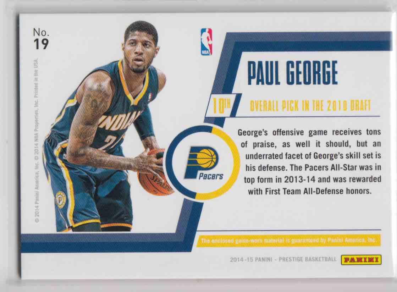 2014-15 Panini Prestige Bonus Shots Materials Premium Paul George #19 card back image