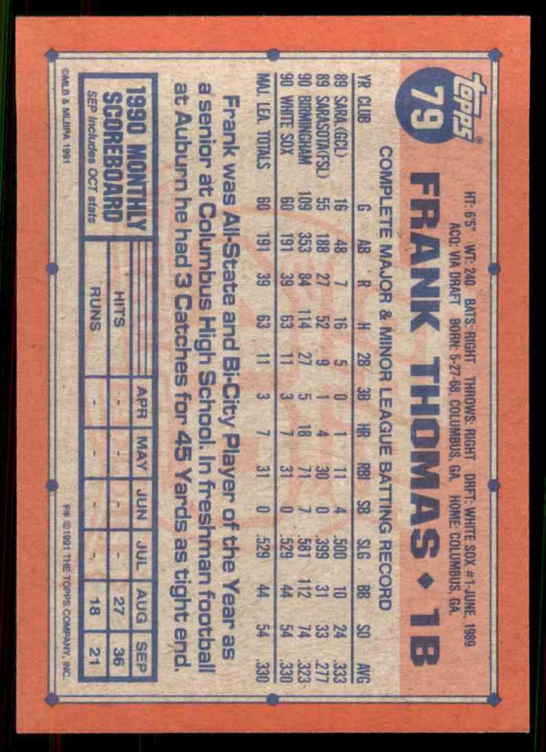 1991 Topps Frank Thomas 79 On Kronozio