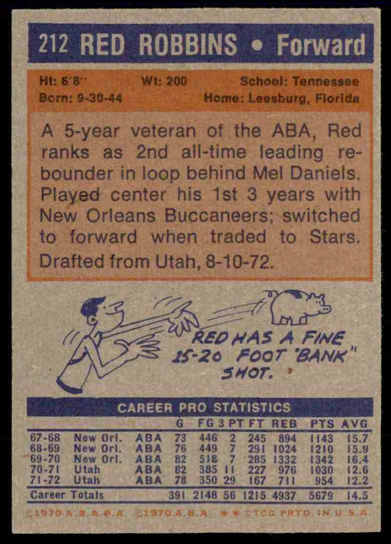 1972-73 Topps Red Robbins #212 card back image