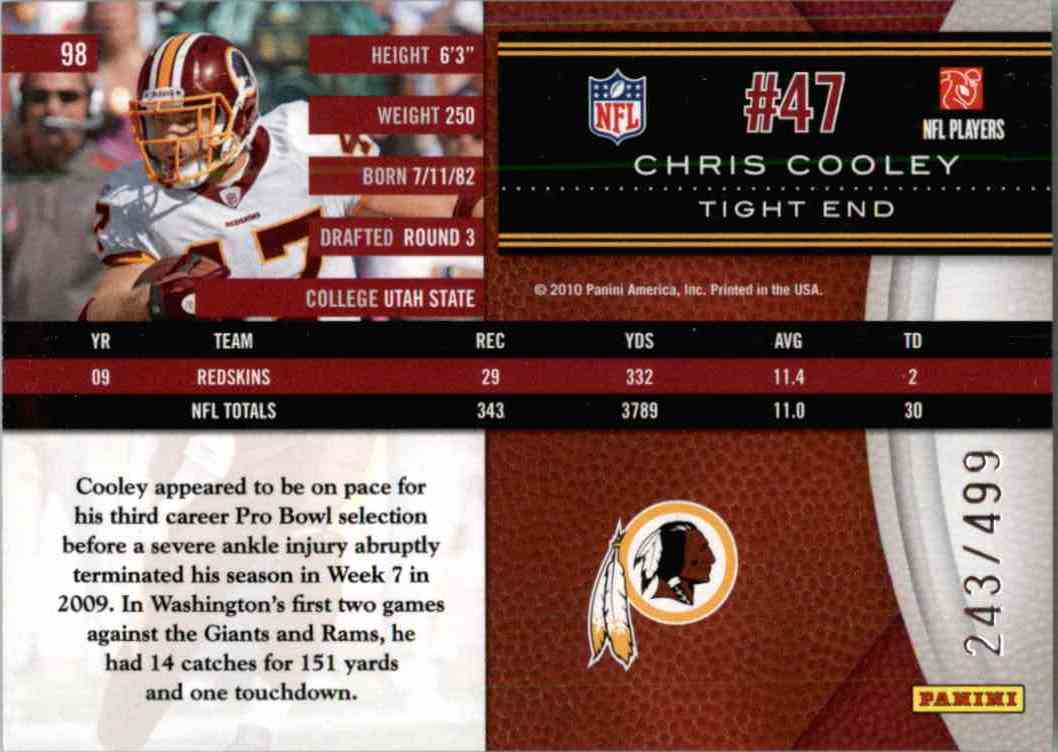 2010 Leaf Limited Chris Cooley #98 card back image