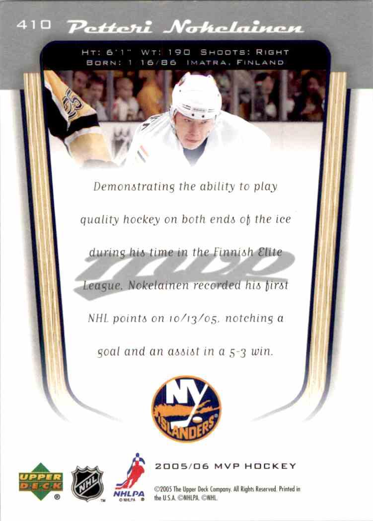 2005-06 Upper Deck MVP Petteri Nokelainen #410 card back image
