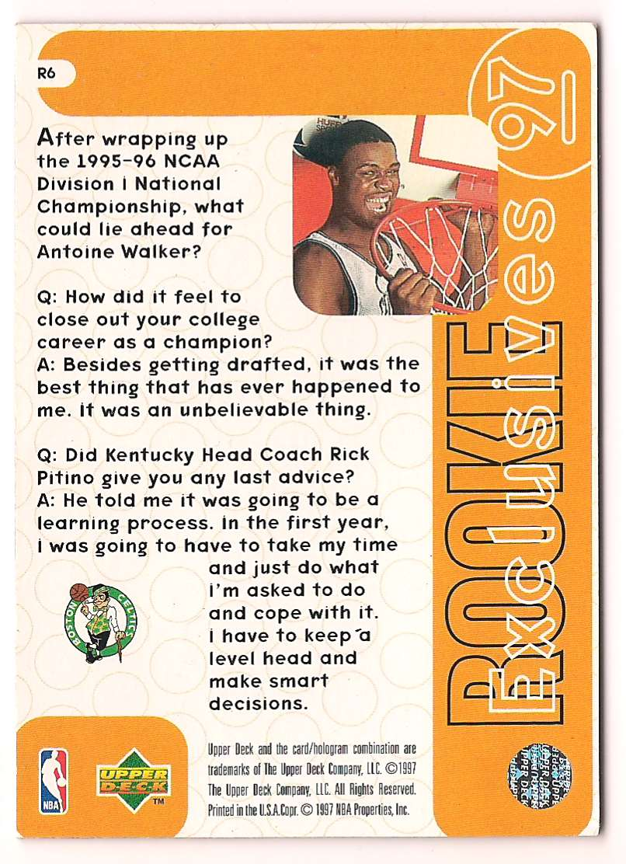 1996-97 Upper Deck Rookie Exclusive Antoine Walker #R6 card back image
