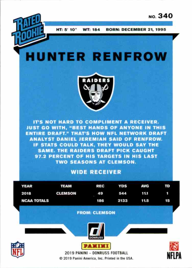2019 Panini Donruss Rated Rookie Hunter Renfrow #340 card back image